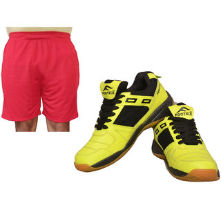 FOOTFIX Squash Unisex (Non-Marking) Badminton Shoes With Men's Red Shorts Free