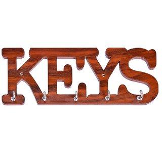 Gkart KEYS name Hand Made Key Stand, Glossy Harvest Wood Color Wood Key Holder  (5 Hooks, Beige)
