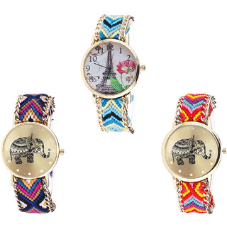 Neutron Latest Casual Paris Eiffel Tower And Elephant Analogue Multi Color Color Girls And Women Watch - G149-G311-G155 (Combo Of  3 )