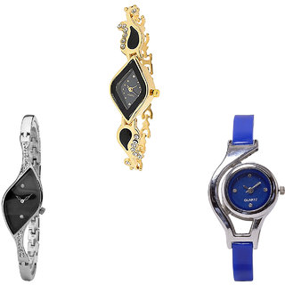 Neutron Contemporary Gift World Cup Analogue Gold, Silver And Blue Color Girls And Women Watch - G266-G352-G2 (Combo Of  3 )