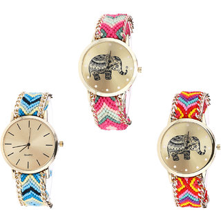 Neutron Brand New High Quality Elephant Analogue Multi Color Color Girls And Women Watch - G163-G314-G155 (Combo Of  3 )