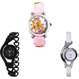 Neutron Treading Collection Barbie Doll, Chain And World Cup Analogue Pink, Black And White Color Girls And Women Watch - G7-G68-G6 (Combo Of  3 )