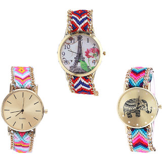 Neutron Latest Gift Paris Eiffel Tower And Elephant Analogue Multi Color Color Girls And Women Watch - G147-G319-G154 (Combo Of  3 )