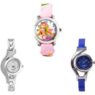 Neutron Latest Casual Barbie Doll And World Cup Analogue Pink, Silver And Blue Color Girls And Women Watch - G7-G404-G2 (Combo Of  3 )