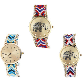 Neutron Contemporary Italian Designer Elephant Analogue Multi Color Color Girls And Women Watch - G158-G314-G159 (Combo Of  3 )