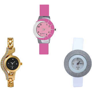 Neutron Latest Model Chain And Chronograph Analogue Pink, Gold And White Color Girls And Women Watch - G9-G114-G56 (Combo Of  3 )