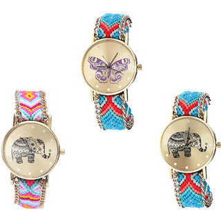 Neutron Contemporary Royal Butterfly And Elephant Analogue Multi Color Color Girls And Women Watch - G137-G312-G161 (Combo Of  3 )