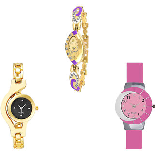 Neutron New Professional Chain Analogue Gold And Pink Color Girls And Women Watch - G124-G336-G9 (Combo Of  3 )