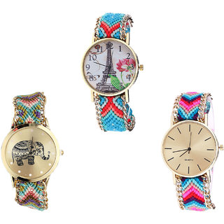 Neutron Latest High Quality Paris Eiffel Tower And Elephant Analogue Multi Color Color Girls And Women Watch - G150-G157-G164 (Combo Of  3 )