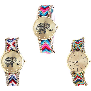 Neutron Latest Fashionable Elephant Analogue Multi Color Color Girls And Women Watch - G154-G159-G166 (Combo Of  3 )
