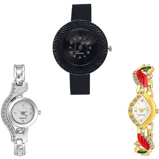 Neutron Latest Technology Chronograph And Peacock Analogue Black, Silver And Gold Color Girls And Women Watch - G57-G404-G116 (Combo Of  3 )