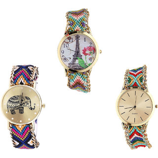 Neutron New Valentine Paris Eiffel Tower And Elephant Analogue Multi Color Color Girls And Women Watch - G146-G311-G166 (Combo Of  3 )