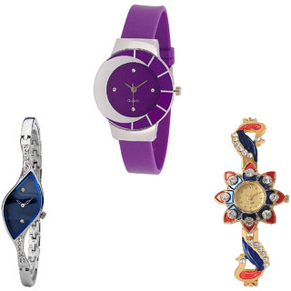 Neutron Latest Professional Peacock Analogue Purple, Silver And Gold Color Girls And Women Watch - G10-G353-G118 (Combo Of  3 )