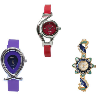 Neutron Brand New Professional World Cup, Fish Shape And Peacock Analogue Red, Purple And Gold Color Girls And Women Watch - G5-G54-G119 (Combo Of  3 )