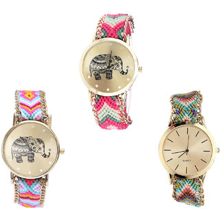 Neutron Contemporary Branded Elephant Analogue Multi Color Color Girls And Women Watch - G163-G312-G167 (Combo Of  3 )