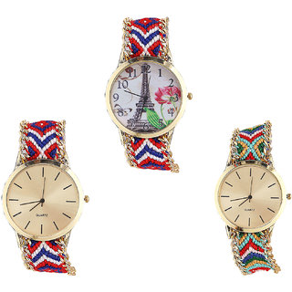 Neutron Latest High Quality Paris Eiffel Tower Analogue Multi Color Color Girls And Women Watch - G147-G168-G166 (Combo Of  3 )