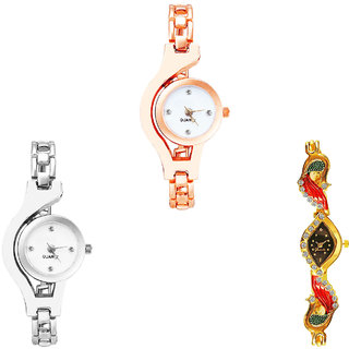 Neutron Classical Traditional Chain And Peacock Analogue Rose Gold, Silver And Gold Color Girls And Women Watch - G69-G70-G117 (Combo Of  3 )