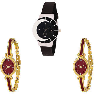 Neutron Classical Collection  Analogue Black And Gold Color Girls And Women Watch - G8-G122-G122 (Combo Of  3 )