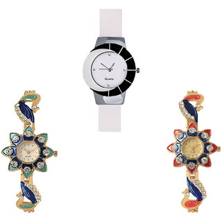 Neutron Latest Collection Peacock Analogue White And Gold Color Girls And Women Watch - G11-G119-G118 (Combo Of  3 )