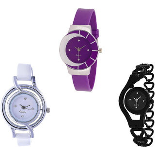 Neutron Latest Technology Chain Analogue Purple, White And Black Color Girls And Women Watch - G10-G50-G68 (Combo Of  3 )