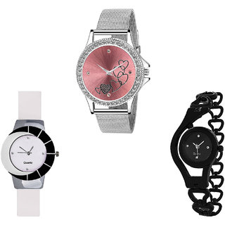 Neutron Contemporary Italian Designer Love Valentine And Chain Analogue Silver, White And Black Color Girls And Women Watch - G286-G11-G68 (Combo Of  3 )