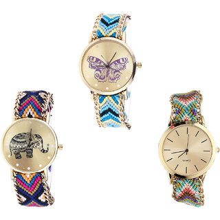 Neutron Brand New Fancy Butterfly And Elephant Analogue Multi Color Color Girls And Women Watch - G136-G311-G167 (Combo Of  3 )