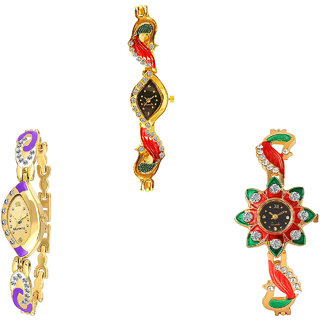 Neutron Latest Italian Designer Peacock Analogue Gold Color Girls And Women Watch - G117-G124-G120 (Combo Of  3 )