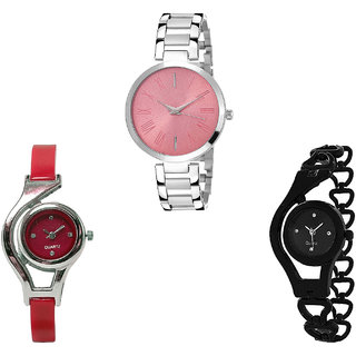 Neutron Latest Royal World Cup And Chain Analogue Silver, Red And Black Color Girls And Women Watch - G301-G5-G68 (Combo Of  3 )