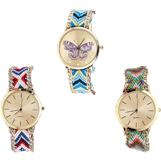 Neutron Brand New Style Butterfly Analogue Multi Color Color Girls And Women Watch - G136-G313-G167 (Combo Of  3 )