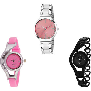 Neutron New Fancy World Cup And Chain Analogue Silver, Pink And Black Color Girls And Women Watch - G303-G3-G68 (Combo Of  3 )