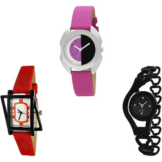 Neutron Treading Casual Chain Analogue Pink, Red And Black Color Girls And Women Watch - G277-G428-G68 (Combo Of  3 )