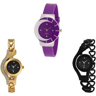 Neutron Treading Party Wedding Chain Analogue Purple, Gold And Black Color Girls And Women Watch - G10-G114-G68 (Combo Of  3 )