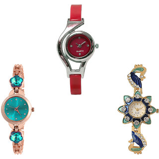 Neutron Contemporary Casual World Cup, Flower Dimond And Peacock Analogue Red, Rose Gold And Gold Color Girls And Women Watch - G5-G341-G119 (Combo Of  3 )