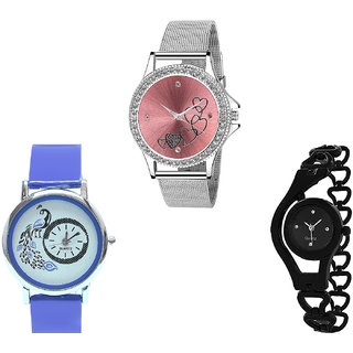 Neutron Latest Fancy Love Valentine, Peacock And Chain Analogue Silver, Blue And Black Color Girls And Women Watch - G286-G19-G68 (Combo Of  3 )