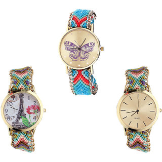 Neutron Brand New Gift Butterfly And Paris Eiffel Tower Analogue Multi Color Color Girls And Women Watch - G137-G146-G167 (Combo Of  3 )