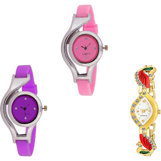 Neutron Treading Royal World Cup And Peacock Analogue Pink, Purple And Gold Color Girls And Women Watch - G3-G4-G116 (Combo Of  3 )