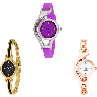 Neutron Brand New Model World Cup And Chain Analogue Purple, Gold And Rose Gold Color Girls And Women Watch - G4-G121-G69 (Combo Of  3 )