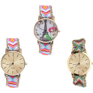 Neutron Classical Party Wedding Paris Eiffel Tower Analogue Multi Color Color Girls And Women Watch - G310-G319-G167 (Combo Of  3 )