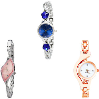 Neutron Best Style Flower Dimond And Chain Analogue Silver And Rose Gold Color Girls And Women Watch - G338-G405-G69 (Combo Of  3 )