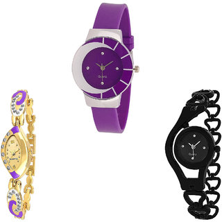 Neutron Treading Branded Chain Analogue Purple, Gold And Black Color Girls And Women Watch - G10-G124-G68 (Combo Of  3 )