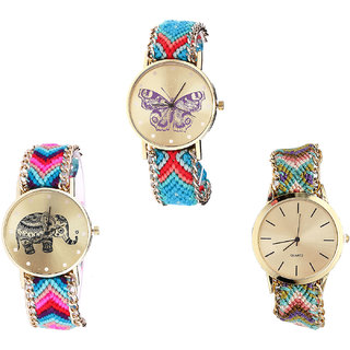 Neutron Brand New Technology Butterfly And Elephant Analogue Multi Color Color Girls And Women Watch - G137-G154-G167 (Combo Of  3 )
