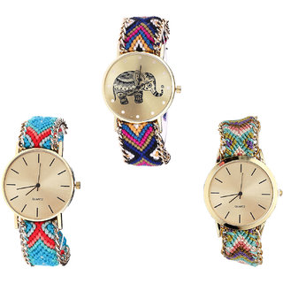 Neutron Classical Fancy Elephant Analogue Multi Color Color Girls And Women Watch - G311-G315-G167 (Combo Of  3 )