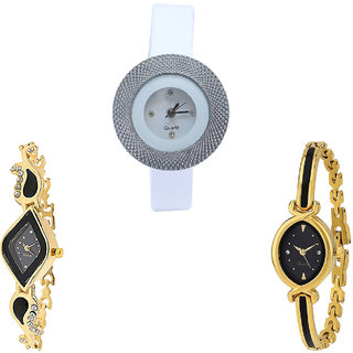Neutron Contemporary Branded Chronograph Analogue White And Gold Color Girls And Women Watch - G56-G266-G121 (Combo Of  3 )