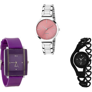 Neutron New Fashionable Chain Analogue Silver, Purple And Black Color Girls And Women Watch - G303-G15-G68 (Combo Of  3 )