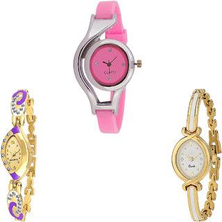 Neutron Treading 3D Design World Cup Analogue Pink And Gold Color Girls And Women Watch - G3-G124-G123 (Combo Of  3 )