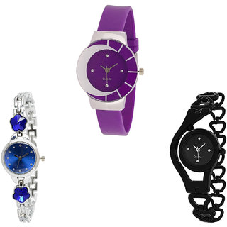Neutron Treading Fashionable Flower Dimond And Chain Analogue Purple, Silver And Black Color Girls And Women Watch - G10-G338-G68 (Combo Of  3 )