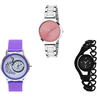 Neutron New High Quality Peacock And Chain Analogue Silver, Purple And Black Color Girls And Women Watch - G303-G21-G68 (Combo Of  3 )