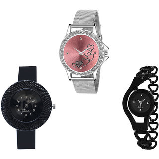 Neutron Latest Gift Love Valentine, Chronograph And Chain Analogue Silver And Black Color Girls And Women Watch - G286-G57-G68 (Combo Of  3 )