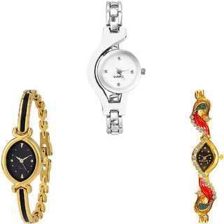 Neutron Best Fashionable Chain And Peacock Analogue Silver And Gold Color Girls And Women Watch - G70-G121-G117 (Combo Of  3 )