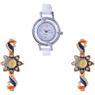 Neutron Treading High Quality Peacock Analogue White And Gold Color Girls And Women Watch - G50-G118-G118 (Combo Of  3 )